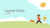 Modello di presentazione a tema didattico con bambini che giocano (illustrazione a fumetti, widescreen)