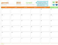 Calendario mensile per qualsiasi anno (12 pagine, schema degli orsetti arcobaleno)