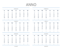 Calendario per qualsiasi anno (lun-dom)