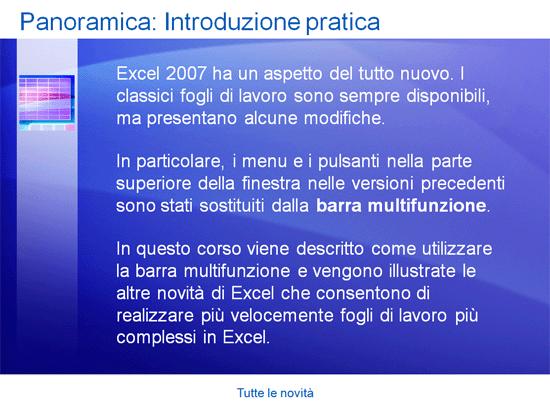 Presentazione corso di formazione: Tutte le novità di Excel 2007