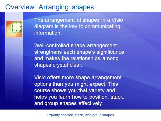Presentazione corso di formazione: Visio 2007 - Posizionare, impilare e raggruppare forme in modo accurato