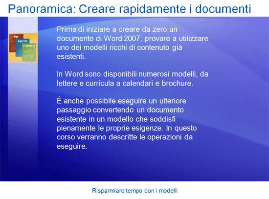 Presentazione corso di formazione: Risparmiare tempo con i modelli di Word 2007