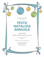 Invito festeggiamento con ornamenti blu, verdi e gialli (schema informale)