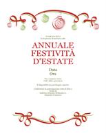 Invito festeggiamento con ornamenti rossi e verdi (schema formale)