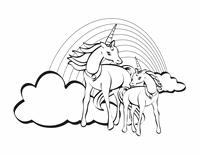 Foglio da colorare (unicorni)
