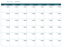 Calendario mensile vuoto