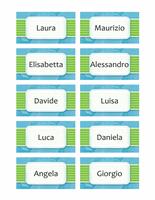 Targhette nome o segnaposto (tema nuvole, 10 per pagina)
