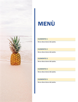 Menù festa (tema sole e sabbia)