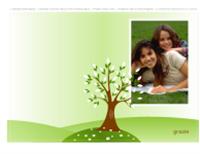 Biglietto di ringraziamento con foto (tema albero, piegato in due)
