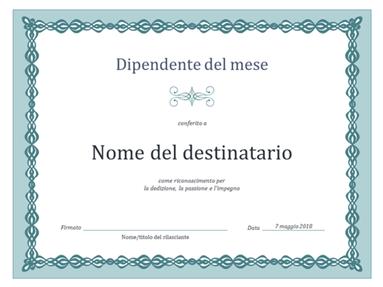Certificato per il dipendente del mese (design con catenella blu)