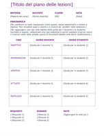 Programma giornaliero delle lezioni