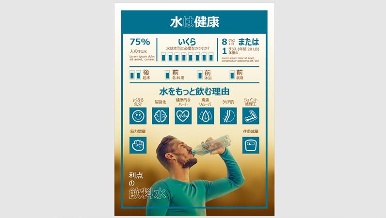水を飲むことに関するインフォグラフィック ポスター