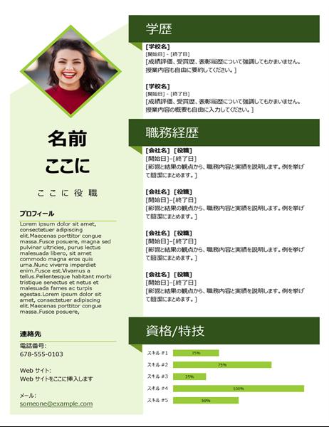 緑色のキューブの履歴書