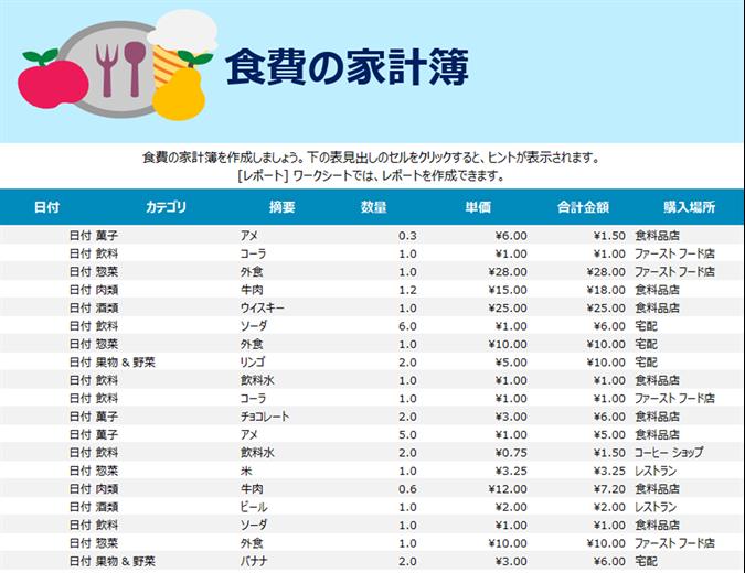 食費の家計簿