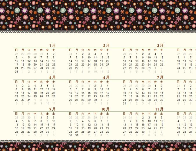 万年カレンダー (日曜~土曜、花柄)