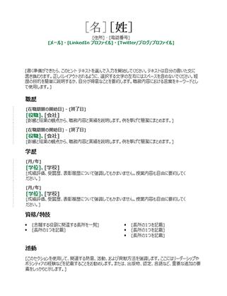 時系列の履歴書 (モダンなデザイン)