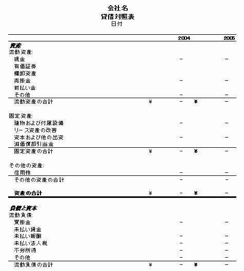 貸借対照表 (2年分)