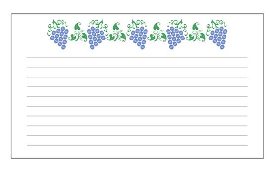 レシピ カード (ブドウのデザイン)