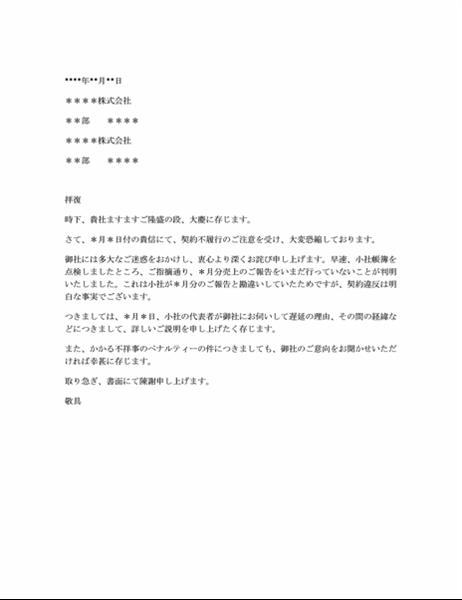 契約不履行への抗議に対するお詫び