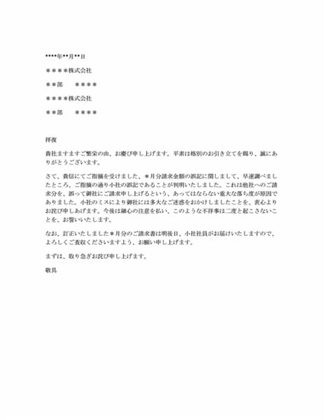 不当な請求への抗議に対するお詫び