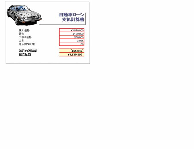 自動車ローン支払計算書