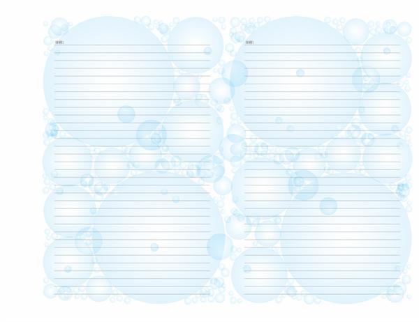 日記ページ (シャボン玉のデザイン、横方向)
