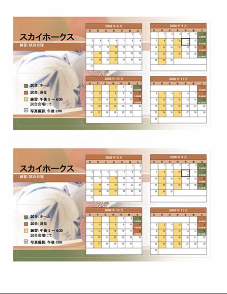 2008 年青少年スポーツ用ポケット日程表 (秋季)