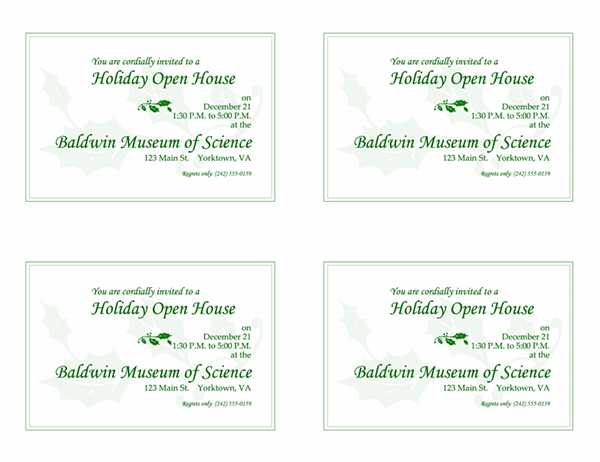 クリスマス特別展の招待状