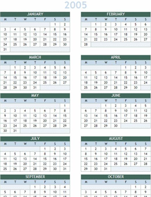 2005 ~ 2014 年版 年間カレンダー (月曜開始)