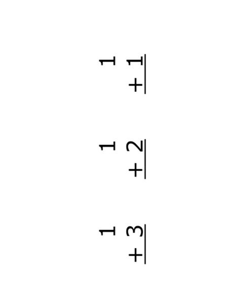 足し算フラッシュ カード (表面: 数式、Avery 5388 対応)