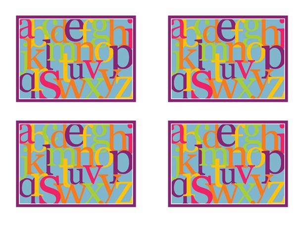 アルファベット フラッシュ カード (裏面: Avery 3263、8387 対応)