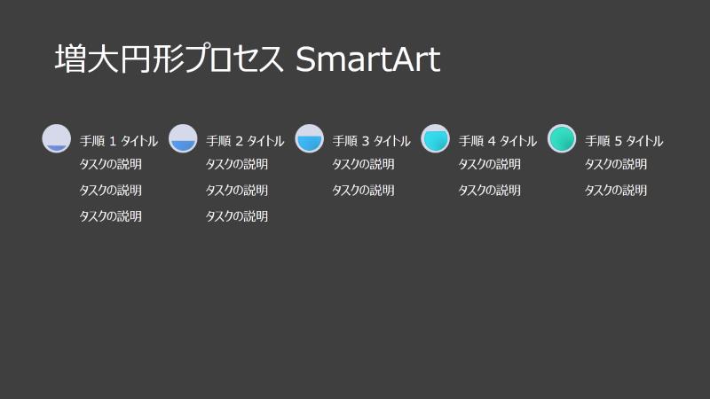 増大円形プロセス SmartArt によるスライド (黒の背景に灰色と青)、ワイドスクリーン