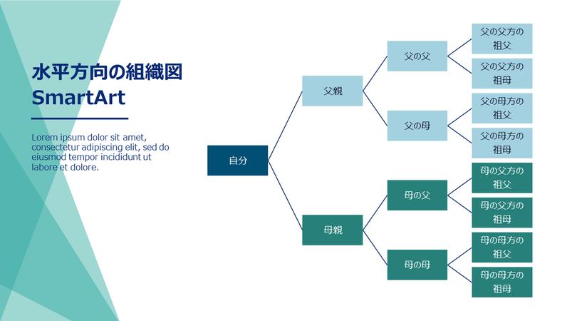 家系図(水平、緑、白、ワイドスクリーン)