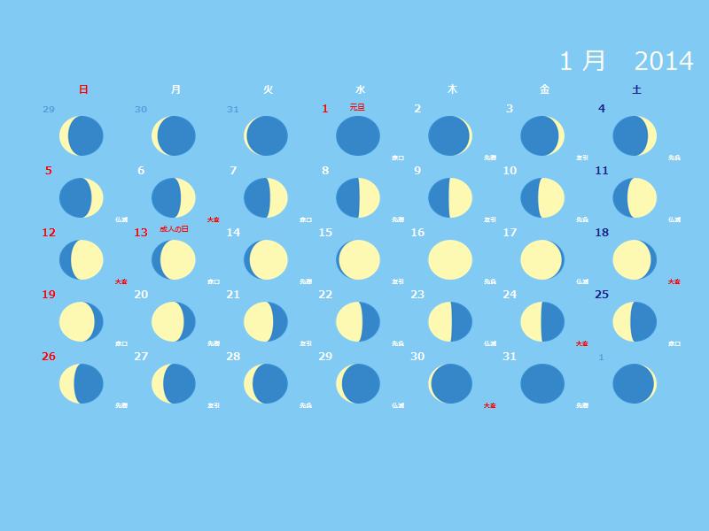 2014 年の月齢をデザインした月間カレンダー