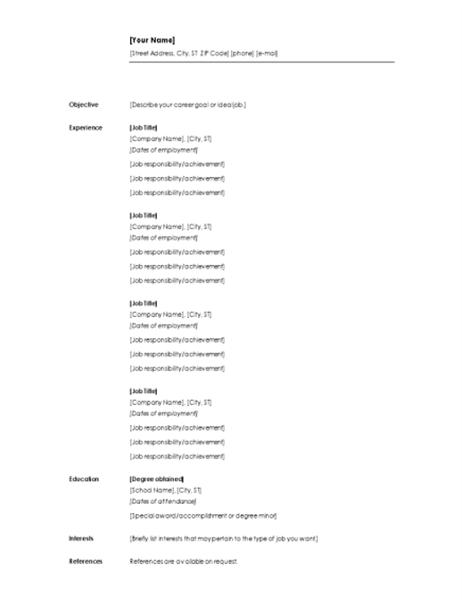 英文年代別履歴書 (最小限のデザイン)
