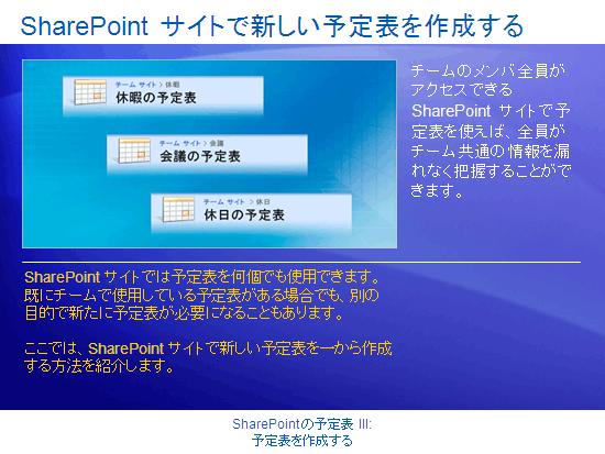 トレーニング プレゼンテーション : SharePoint Server 2007 - 予定表 III: 予定表を作成する