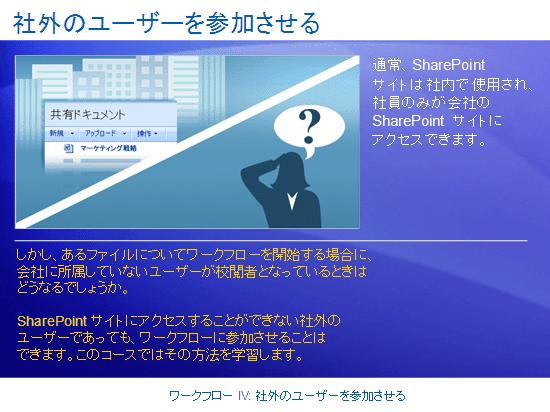 トレーニング プレゼンテーション: SharePoint Server 2007 - ワークフロー IV: 社外のユーザーを参加させる