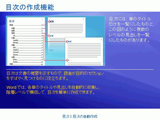 トレーニング プレゼンテーション: Word 2007 の目次 I: 自動目次を作成する
