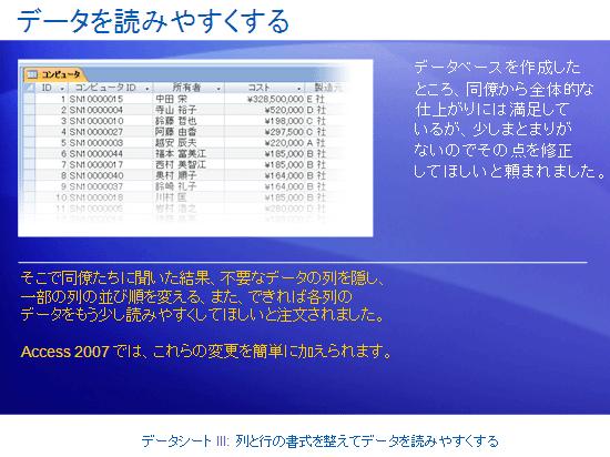 トレーニング プレゼンテーション: Access 2007 - データシート III: 列と行の書式を整えてデータを読みやすくする