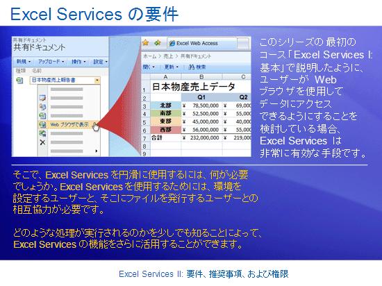 トレーニング プレゼンテーション: SharePoint Server 2007 - Excel Services II: 要件、推奨事項、アクセス許可