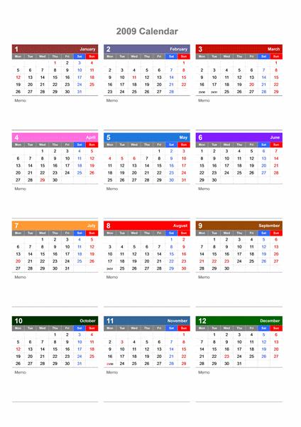 2009 - 2011 年、3 年カレンダー (メモ スペース付き)