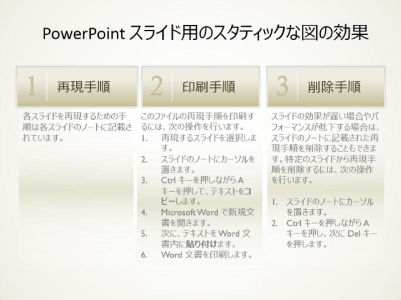 PowerPoint スライド用のスタティックな図の効果
