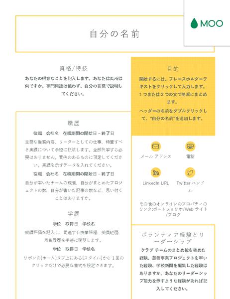 MOO 社のデザインによる見やすくてわかりやすい履歴書