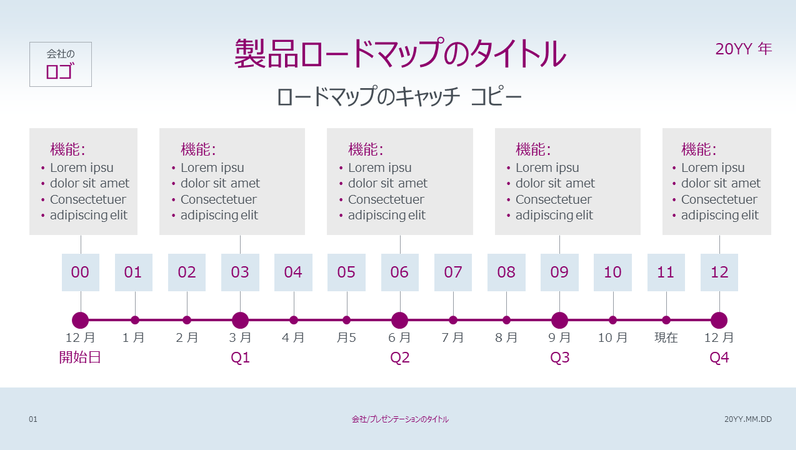 製品ロードマップのタイムライン (淡色)