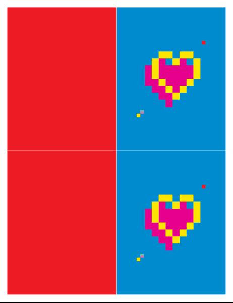 ピクセルのハートのバレンタイン カード
