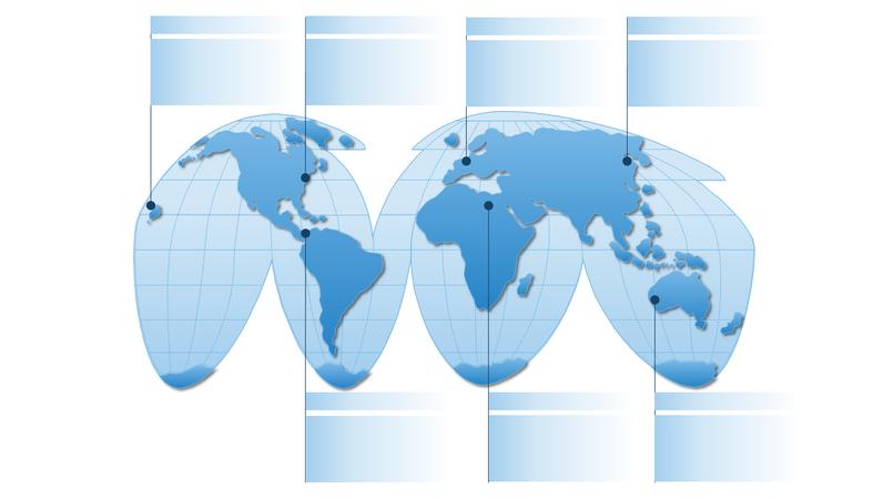 擬円筒図法の世界地図のグラフィック
