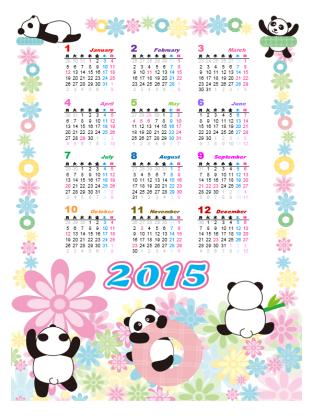 2015 年のかわいいカレンダー (月曜~日曜、パンダ)