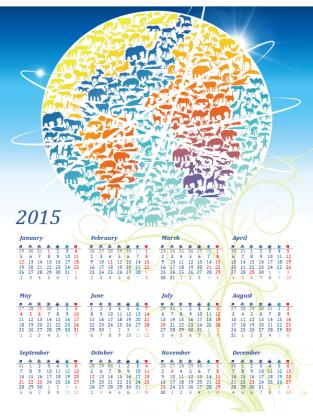 2015 年の年間カレンダー (月曜~日曜、エコ デザイン)