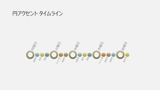 イベント タイムライン図表スライド (ワイド画面)