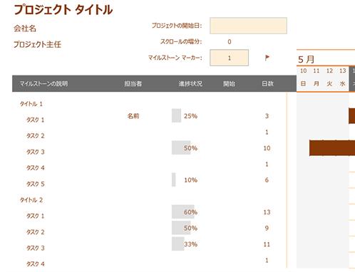 日付管理ガント チャート
